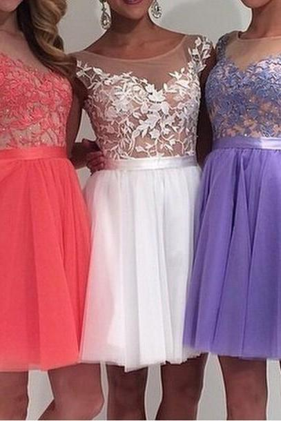 Prom dress, Charming Tulle dress,Appliques Short dress, Graduation Dresses,Sleeveless Homecoming Dresses, Homecoming Dress,Bridesmaid Dress