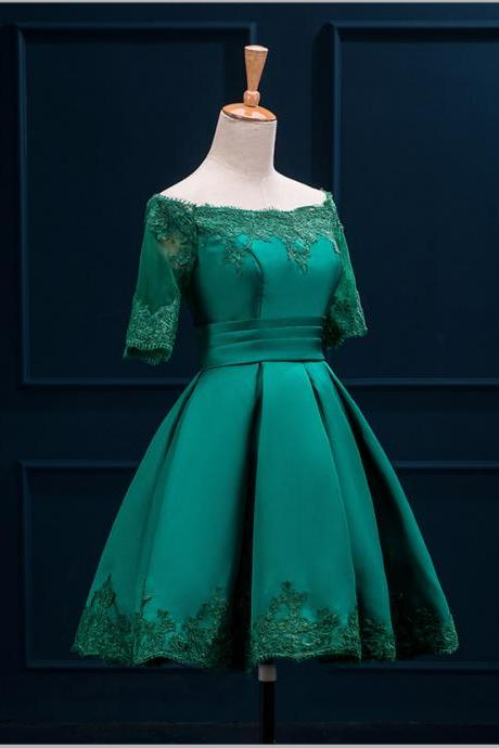 Green Satin Applique A-Line Vintage Prom Party Bridesmaid Formal dress