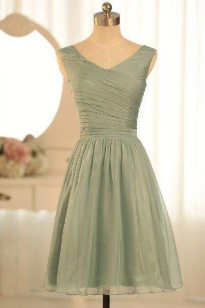 Short elegant V-Neck Ruffle A-LINE Bridesmaid Graduation Party Prom Dresses