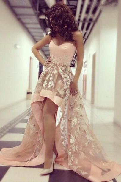 Sweetheart Prom Dress, High Low Prom Dress, Elegant Prom Dress, Lace Applique Cocktail Dress, Party Dress,Short Front Long Back Homecoming Dress, 2016 Prom Gowns