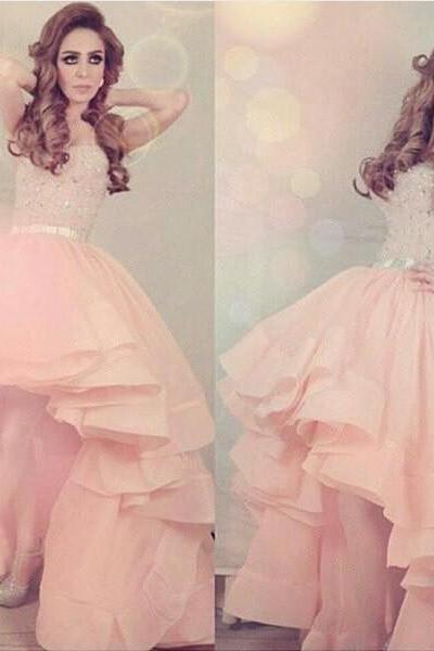 Pink High Low Crystal Strapless Homecoming Party Evening Cocktail Dress