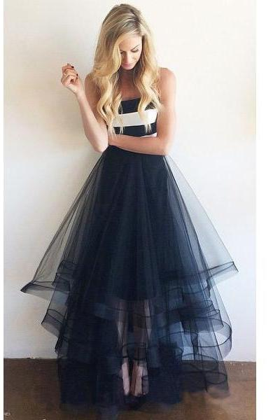 Strapless prom dress, long prom dress, tulle homecoming dress, cheap prom dress,A-line cocktail dress,2016 party evening dress