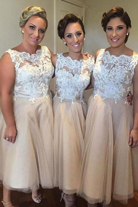 short bridesmaid dress, lace bridesmaid dress,Champagne bridesmaid dress, Tulle bridesmaid dress, elegant bridesmaid dress