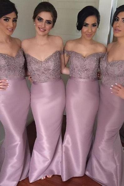 long rhinestone satin mermaid graduation prom bridesmaid dress