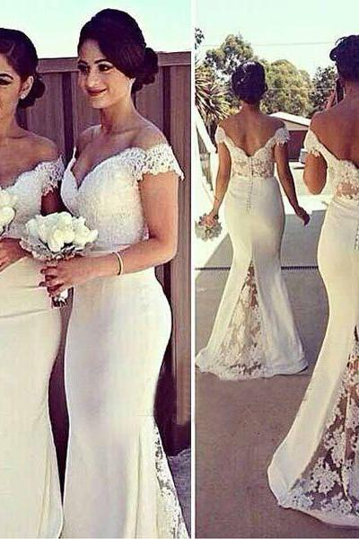 Long Cap Sleeves Lace Satin Mermaid Bridesmaid Prom Party Dress