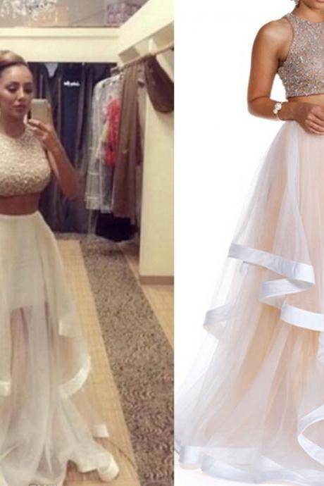 Champagne Prom Dress, Two Piece Prom Dresses, Long Prom Dress, Tulle Prom Gowns, A LINE Formal Dresses,Party dress